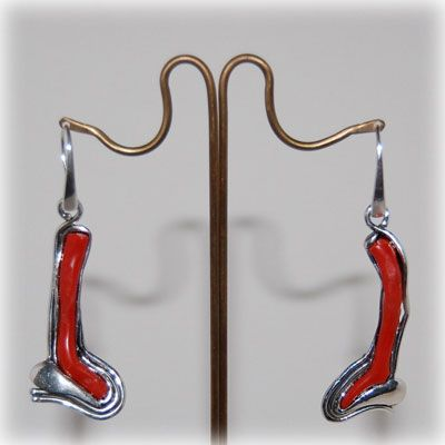 Authentic red coral earrings with handmade sterling silver details and setting. Entirely handmade in our workshop.