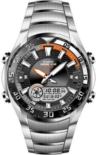CASIO Collection AMW-710D-1AVEF - Reloj de caballero de cuarzo, correa de acero inoxidable color varios colores (con cronómetro, alarma, luz): Amazon.es: Relojes