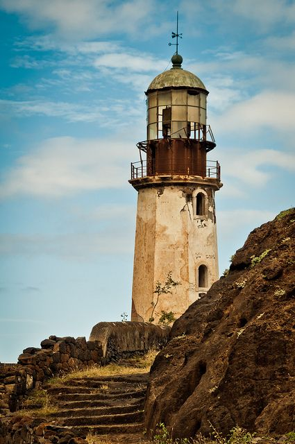 Abandoned lighthouse in Santa Antao, Cape Verde, west Africa, ..rh