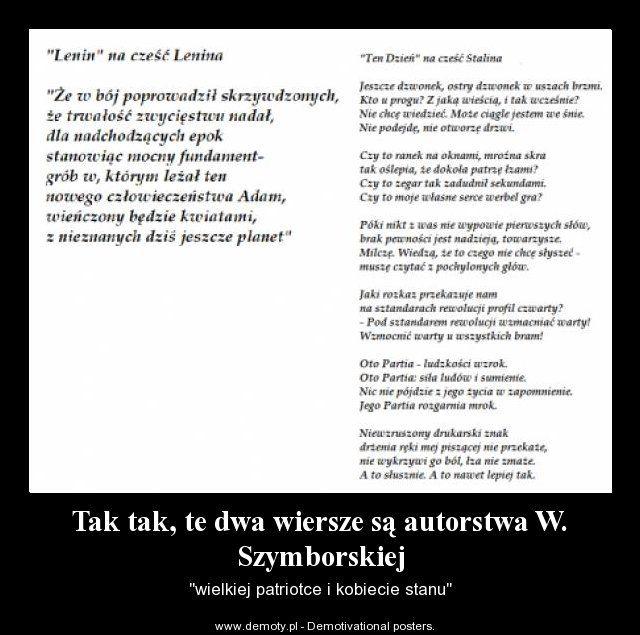 Wisława Szymborska LENIN, TEN DZIEŃ