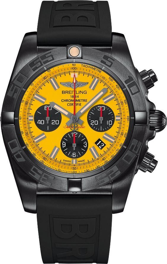 Breitling Watch Chronomat 44 #bezel-unidirectional #bracelet-strap-rubber #brand-breitling #case-depth-16-95mm #case-material-black-pvd #case-width-44mm #chronograph-yes #cosc-yes #date-yes #delivery-timescale-call-us #description-done #dial-colour-yellow #gender-mens #luxury #movement-automatic #official-stockist-for-breitling-watches #packaging-breitling-watch-packaging #style-pilot #style-sports #subcat-chronomat #supplier-model-no-mb0111c3-i531-262s…