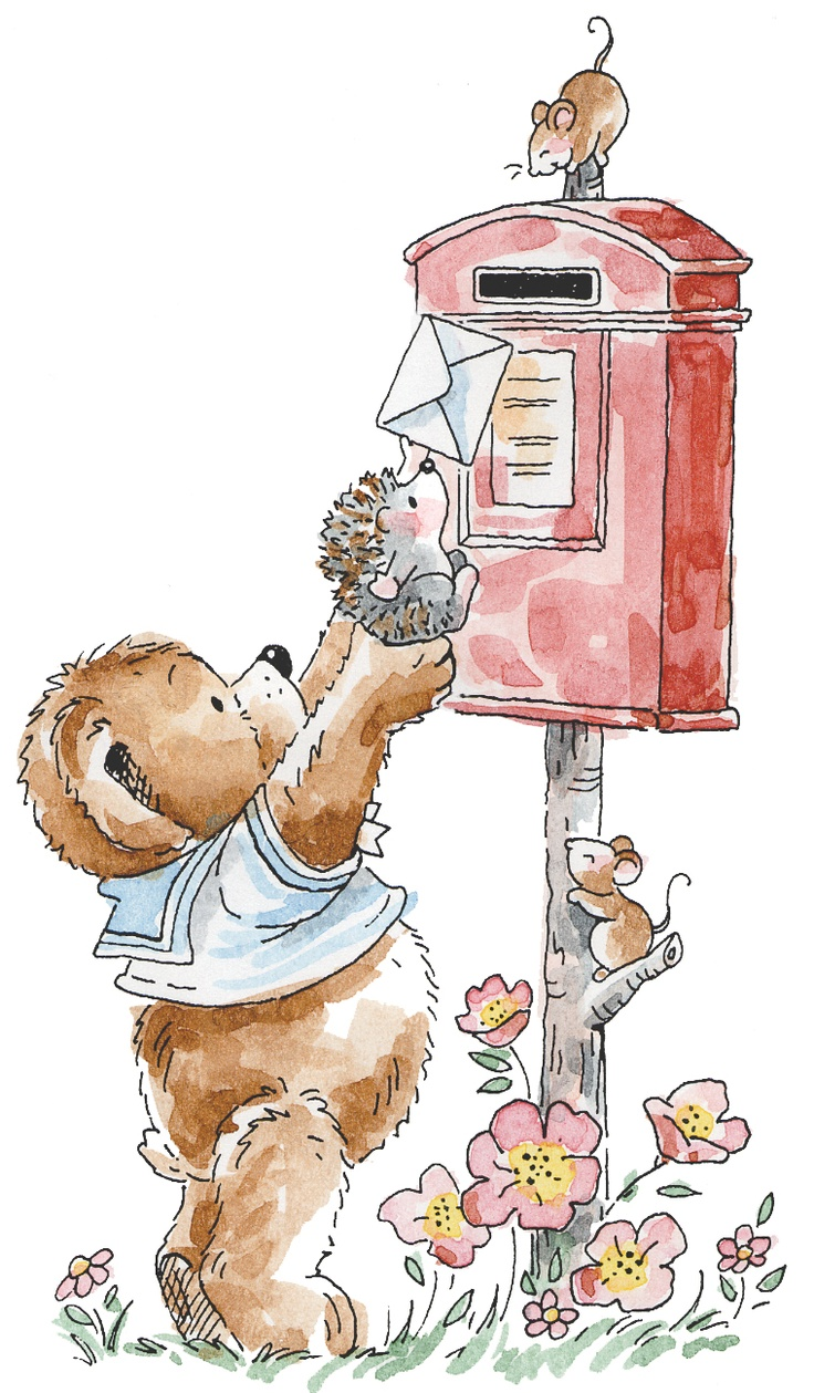Bear and Hedgehog w/Mail by Penny Black
