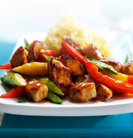 Sweet and Sour Chicken and Vegetable Stir Fry Recipe from Quorn (Uses fake chicken but I think it would be great with tofu!)