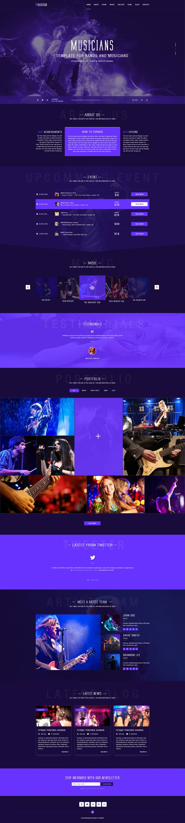 Musician PSD Template for Artist , Band, Pub, Club, Dance, Party Night, Portfoli…