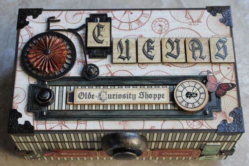 This is a truly awesome altered cigar box by @Arlene Russell Butterflykisses using the Olde Curiosity Shoppe collection. So many amazing details! What a great and fun gift to help the Dad in your life get organized!    ✪✪✪ diycraftsnow.tumb... ✪✪✪
