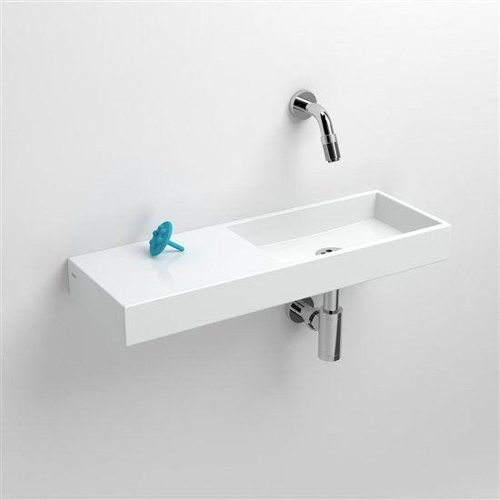 Clou Mini Wash Me fontein, zonder kraangat, zonder plug, links, wit keramiek