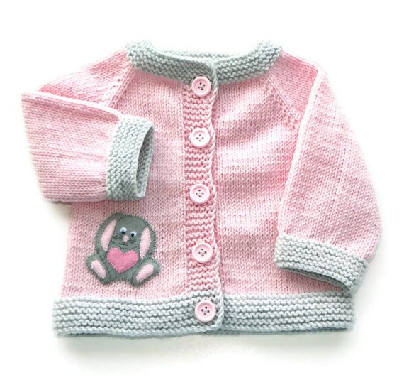 Knitted baby jacket pink baby cardigan gray bunny by Tuttolv, $39.00