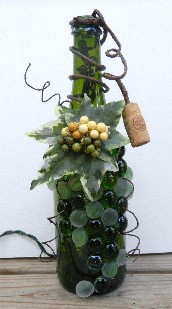 Decorative Embellished Wine Bottle Light with Leaves, Berries, and Green Glass Gems