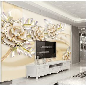 Custom Any Size Photo Background Wallpapers Silk Gold Rose Art Wall  Covering BedRoom Wall Murals Modern