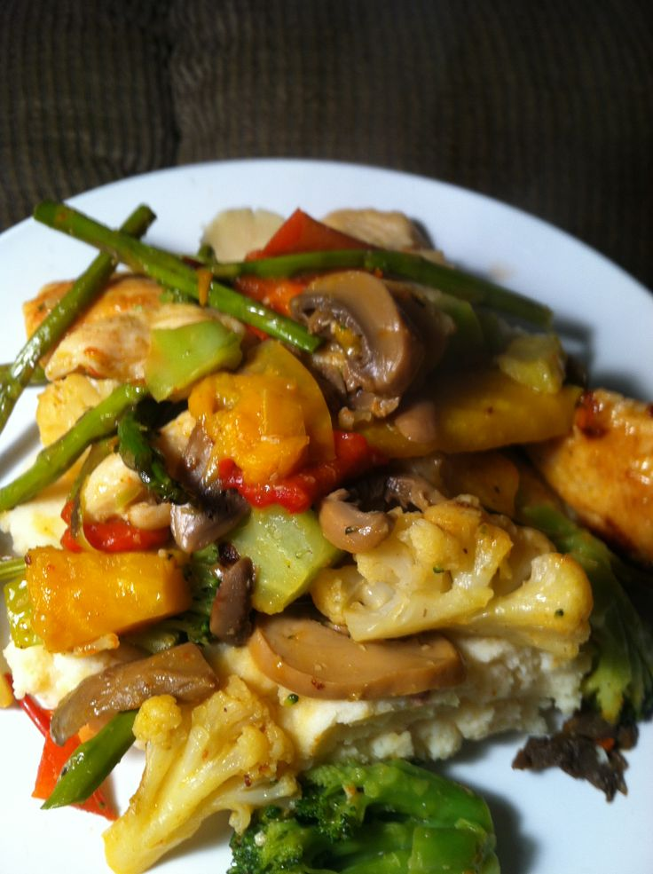 Quick & easy stir fry - sautéed chicken with broccoli, cauliflower, bell peppers, onions, mushrooms, asparagus & golden beets. Sauced with mango chipotle mango hidden valley dressing, served over idahoan instant chipotle mashed potatoes! Yum! My newest creation. Http://www.flipflopgirl.com