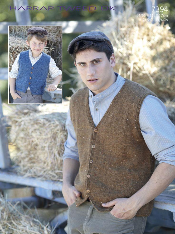 Sirdar 7394 Boys' and Men's Knitted Waistcoat/Vest in Sirdar Harrap Tweed DK (#3 Weight Yarn)