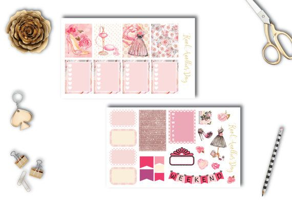 Dreamy Pink Roses and Dresses Planner Stickers by KnotAnotherDay