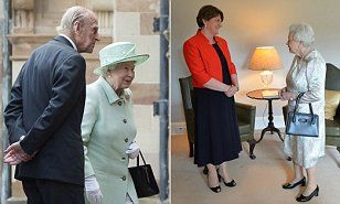 6/27/16*The Queen met Stormont First Minister Arlene Foster and Deputy First Minister Martin McGuinness at Hillsborough Castle on a trip that marks her 25th visit to Northern Ireland.