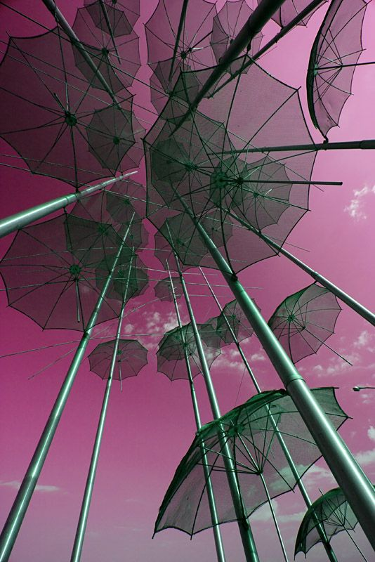 The Umbrellas (photographed from inside the art structure) is a work of art by George Zoggolopoulos and it stands on the New Promenade of the beautiful city of Thessaloniki, since 1997 when the city was Cultural Capital of Europe. ღ