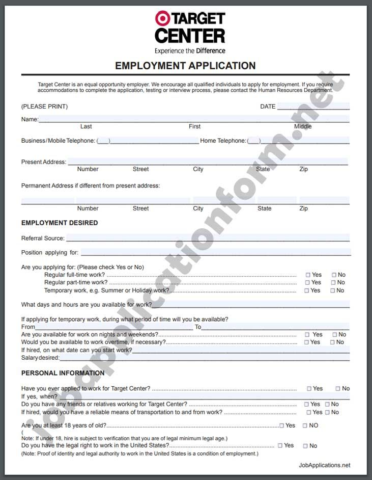 Target Application Form Pdf Printable Job Applications Job Application Form Employment Application
