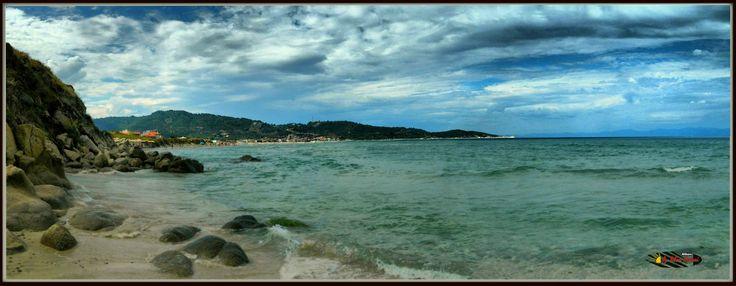 Sarti Coast, Panoramic view of Sarti, Halkidiki, Greece, panorama mode photo, HDR-Art photography 2014.