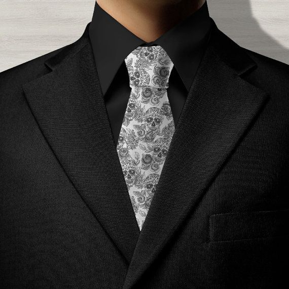 Sugar Skull NECK TIE! Day of the Dead Neck Tie, Dia de los Muertos.