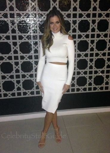 Jojo Fletcher Amps Up The WOW Factor In White Cutout Crop Turtleneck Sweater & Pencil Skirt