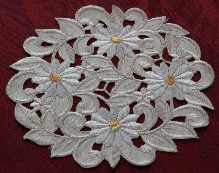 Салфетка стол Бегун скатерть кремовый цветок Ромашка ажурная вышивка новый | ибее