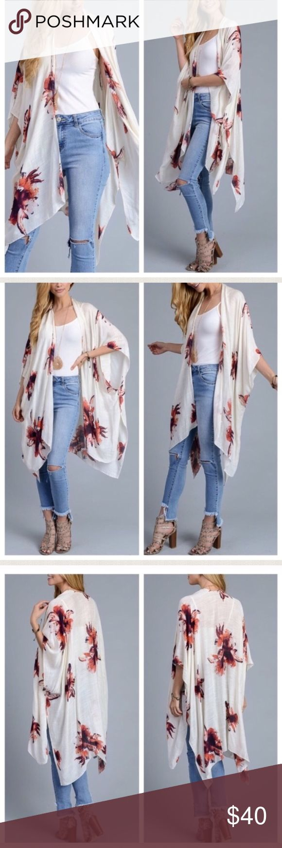 """Floral kimono One size fits most, 100% Viscose. 45-46"""" armpit to armpit, 46"""" length. They fit me fine and I am a size 18. I think it could fit size small up to a size 22 or so. Tags wrap coverup cover up duster cardigan Hawaii tropical vacation beach swim swimsuit robe layer island Swim Coverups"""