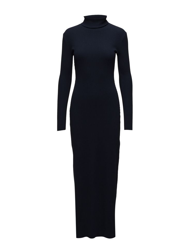 DAY - 2ND Colorama Solid Ribbed fabric Fitted silhouette Dress Winter