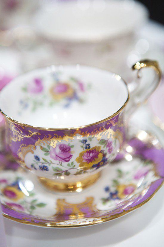Beautiful purple floral teacup!
