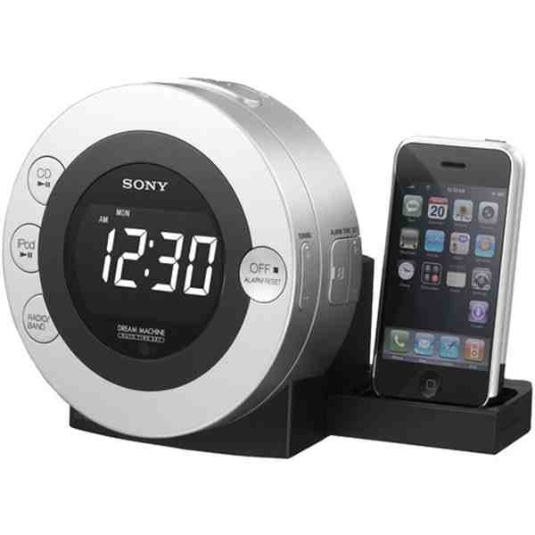 Cd Clock Radio With Ipod  Sony Ifcd3Ipsil Cd Clock Radio With Ipod/Iphone Dock  Cd Clock Radio With Ipod/Iphone DockCompatible With Iphone, Ipod Touch,Ipod Nano 1G/2G/3G/4G, Ipod Classic, Ipod Mini 1G/2G, Ipod 4G & Ipod Video  Plays & Charges Ipod Or Iphone  Dual Alarm (2/5/7 Day) Settings Allow User To Set 2 Separate Wake-Up Times  Wake To Ipod, Iphone, Cd, Radio Or Buzzer  Large LCD Display  Hidden Sliding Dock Tray  Preset Alarm Volume Control  Audio Line-In Jack With Cable  Includes…