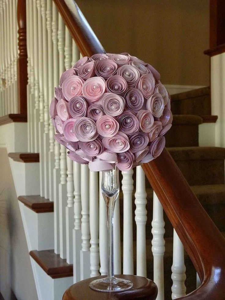"""Paper Rose Topiary. Takes 3 hrs. to make flowers using the tutorial. Flowers are made from scrapbook paper attached w/pins to 6"""" styrofoam ball & sitting on top of cute vase/candlestick"""