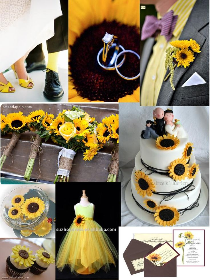 Don't care for the cake, but I love the flower girl dress and the rings placed in the sunflower!