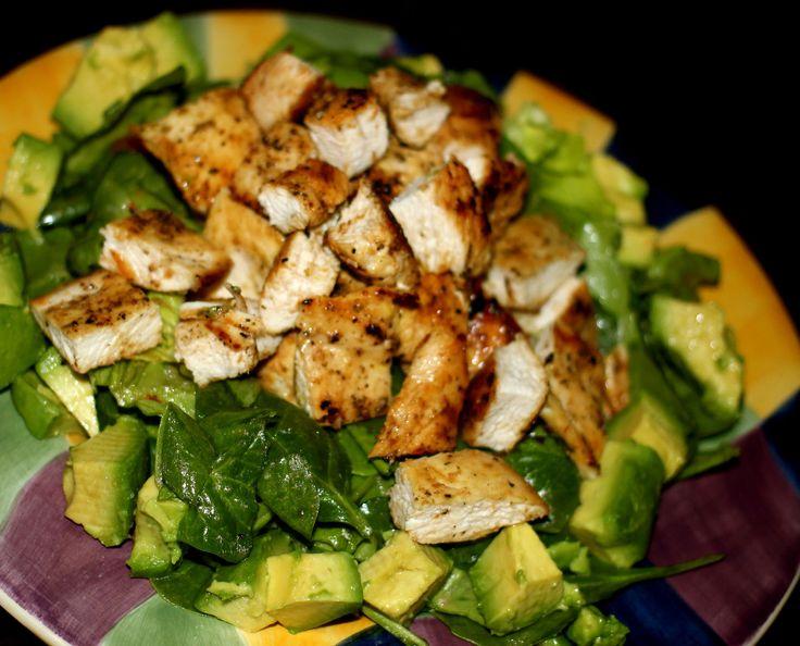 ... chicken, avocado, tomatoes, cucumbers tossed in balsamic vinaigrette