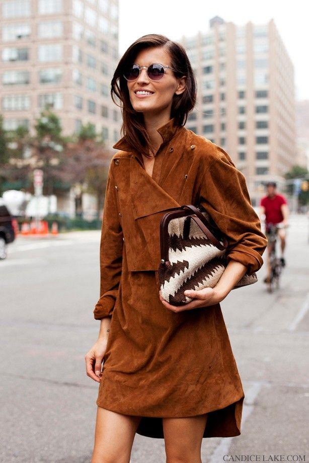 Street Style   Suede Dress   Hanneli   via candicelack.com