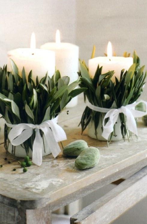 Sage and pillar candles