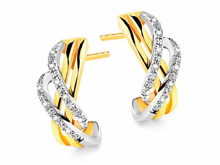 Kolczyki z żółtego i białego złota z brylantami | Apart