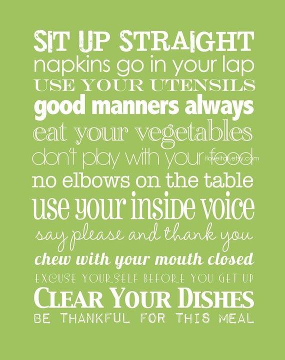 Table Rules - Subway Art - #family #etsy #subwayart #manners #poster