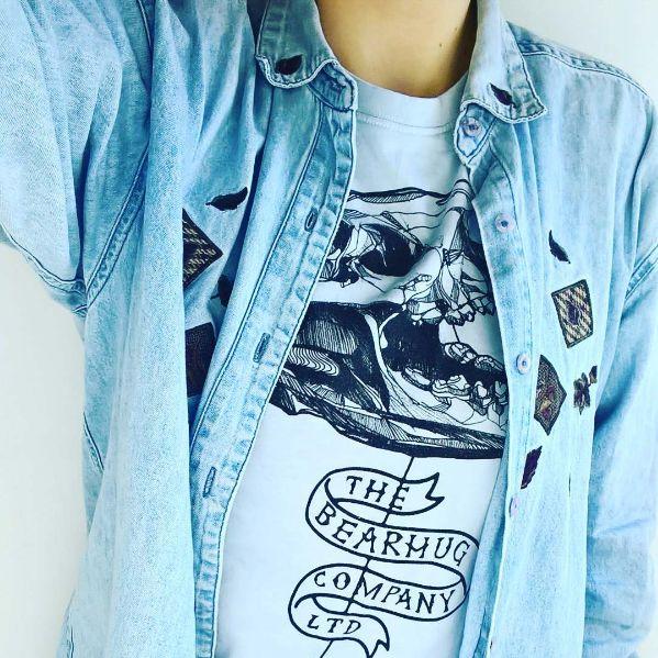 "Classic Bearhug Co ""Bearskull"" design #bear #skull #thebearhugco #lukedixon #illustration  @maudmunro @thebearhugco #LukeDixon amazing design with my home twist of mixing colours im the washing machine"