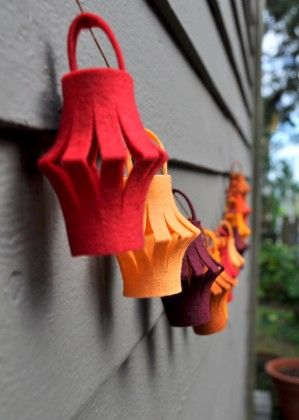 Gorgeous lantern bunting This would be cool in creams and Christmas colors