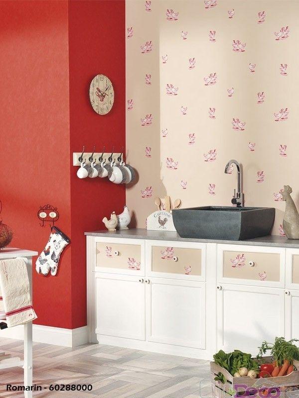 papier peint poule romarin caselio inspiration cuisine pinterest. Black Bedroom Furniture Sets. Home Design Ideas