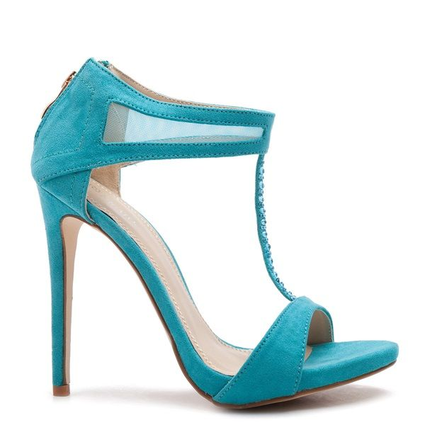 Turquoise T-strap suede high- heel sandals, embellished with turquoise rhinestones along the T-strap.