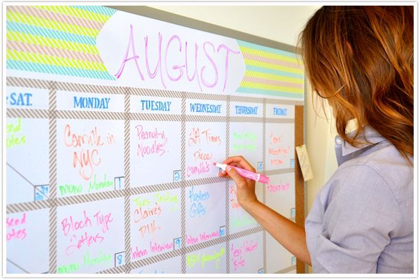 love this cute diy washi tape whiteboard editorial calendar - so clever!