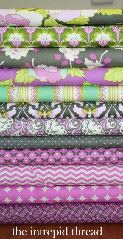 Charcoal and Orchid Fat Quarter Bundle by Heather Bailey  (I haven't decided if I'm going to make anything out of this...I just like it.)