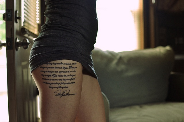 Quote Tattoos Thigh: There Is Beauty In This Script Quote Tattoo....cool Upper