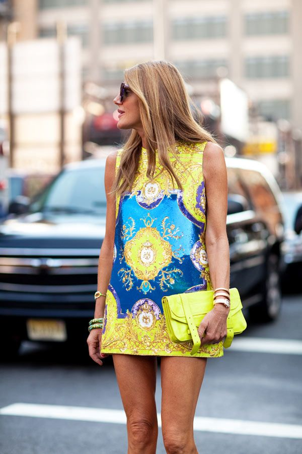 STREET STYLE SPRING 2013 - Anna Della Russo wears her neons with neon for a major punch.