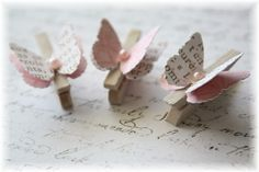 Mini Wooden Clothes Pin Butterfly Embellishment for Scrapbooking, Cardmaking, Altered Art, Text. $2.50, via Etsy.