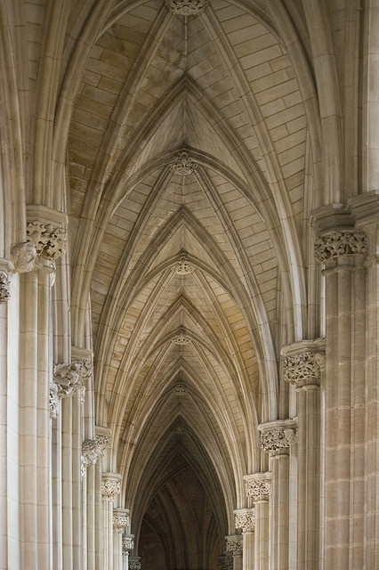 """Downside Abbey church, Somerset ... """"Three architectural features are typical of the Gothic. These are the pointed arch, the ribbed vault, and the flying buttress."""
