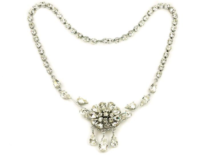 Vintage rhinestones necklaces wedding silver tone 1960s by MariniJewellery on Etsy