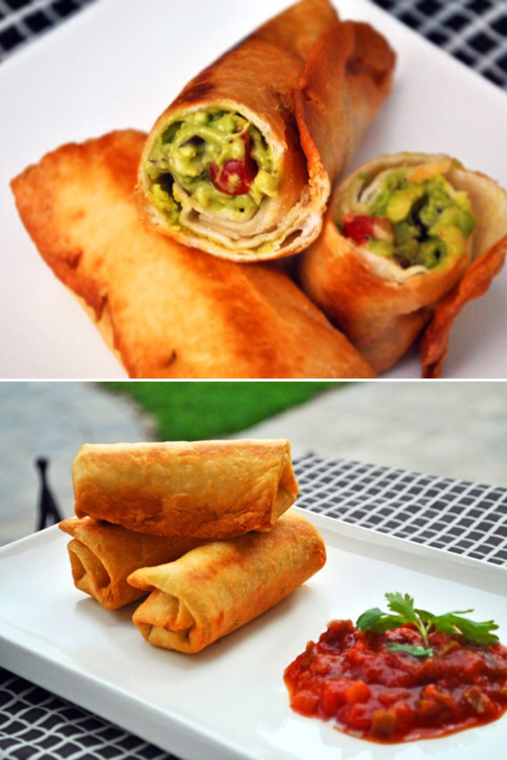 Guaquitos – Guacamole Taco Rolls.  I love the texture of this recipe: the guacamole is creamy and smooth, while the fried tortilla shell lends the perfect amount of crunch. No dipping needed. Vegan.