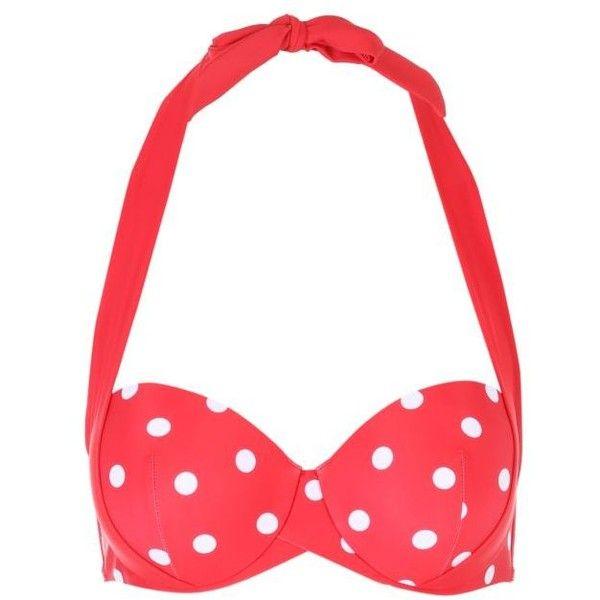 Womens Red Emma Multiway Bikini Top ❤ liked on Polyvore featuring swimwear, bikinis, bikini tops, halter swimsuit tops, tie bikini, halter tankini top, swimsuit tops and red halter top