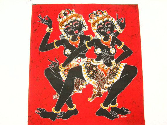 Very ornate, complicated designs on these dancers who remind me of dancers from Ceylon - on red background. Note the right angles of the hands, arms, legs and ankles. And the ornate detail on the clothing. This batik reminds me of a temple rubbing that I got in Thailand -- and framed it in a wide black frame - and loved it for years!  FABRIC: Cotton, washable. This batik is a quilting weight fabric. Batiked in Indonesia -- think Bali and Java! SIZE: 19 x 17 - the perfect size for many…