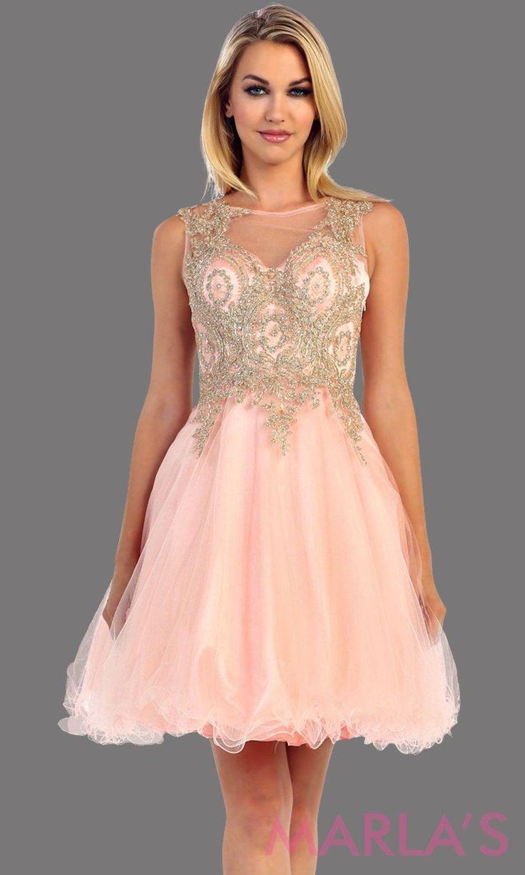 Blush Short Puffy Dress with Gold Lace Applique graduationdress