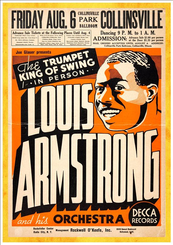 Louis Armstrong - at the Collinsville Park Pallroom - Fantastic A4 Glossy Art Print - FREE SHIPPING!